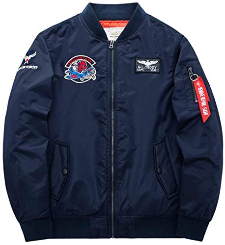 Da Vento 5 blau Con Patch Classica Stile color Leggera Vintage Air Badge Jacket A Flight Size Semplice Zip Giacca 4xl Uomo Force Bomber Per qnRw15P5Z