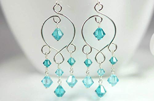 Sterling Silver Turquoise Chandelier Earrings with Light Turquoise and Blue Zircon Swarovski Crystal Wire Wrapped