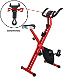 LAZZO Indoor Folding Magnetic Slim Exercise Bike| Bundle Includes Larger Soft seat,Cell Phone Holder,Remote Control Placement Holder,8-Levels Adjustable Resistance,Perfect for Home Use| Bear 250 lbs