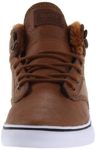 Globe Men's Motley Mid Skateboarding Shoe, Black/Tobacco Gum, 10 M US Distressed Brown Faux Fur