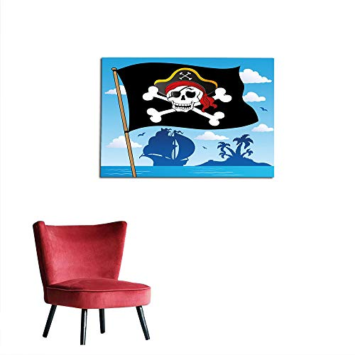kungfu Decoration Photo Wall Paper Pirate,Danger Sign Beware of Pirates Skull with Hat Cross Bones Flag Deserted Island,Blue Black White Custom Poster W31.5 x L23.6 -