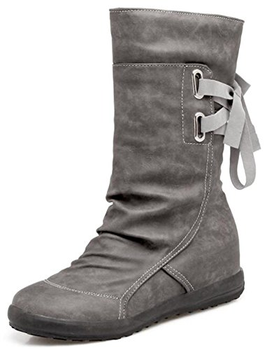 IDIFU Womens Casual Low Wedge Heels Inside Back Lace Up Mid Calf Boots Riding Booties Gray KfoT5W6GM