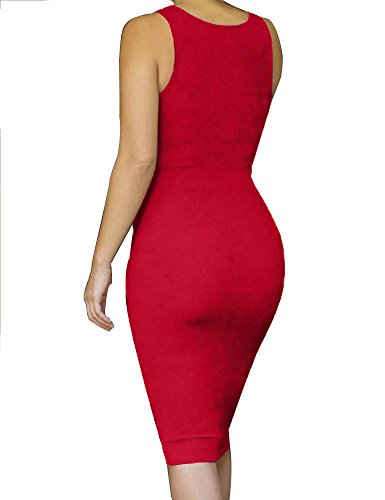 Allegrace Des Femmes De Manches Sexy Moulante Robes De Soirée De Fête Bandage Midi Rouge