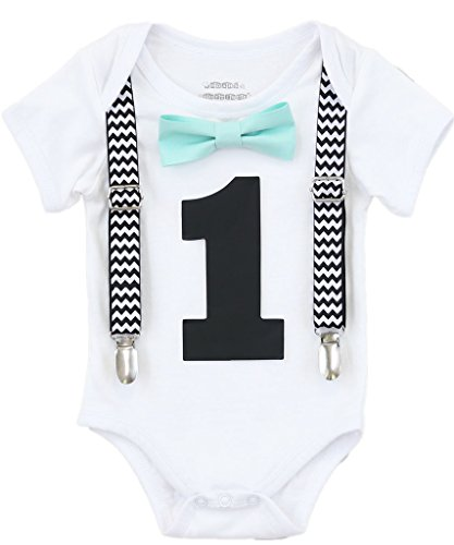 Noah's Boytique 1st Birthday Outfit Mint Bow and Suspenders Black Chevron 12-18 Months