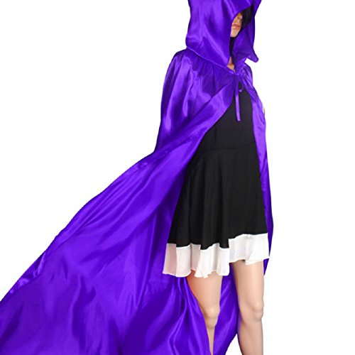 [Sandistore 1PC Hooded Cloak Coat Wicca Robe Medieval Cape Shawl Halloween Party (M)] (Purple Hooded Robe Adult Costumes)