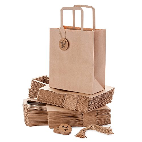 Kraft Paper Bags Bulk with Handles for Shopping, Merchandise, Party, Wedding, Business, Craft Fair, Gifts, Goody, Retail | Set of 50 pcs, Medium 8x4.75x10 in | Comes with Thank-You Tags and Strings