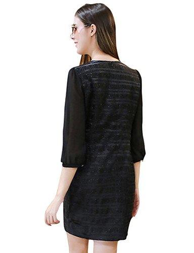 PU&PU Robe Aux femmes Gaine Simple,Couleur Pleine Col Arrondi Au dessus du genou Polyester , black-xl , black-xl