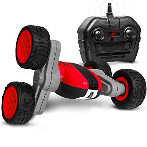 Sharper Image Mini RC Flip N Roll Racer Toy Car for Kids, 360 Degree Rotation Action, Wireless Remote Control/Built in Radio Frequencies, All Terrain Rugged Rubber Tires, Off Road Stunt Performance