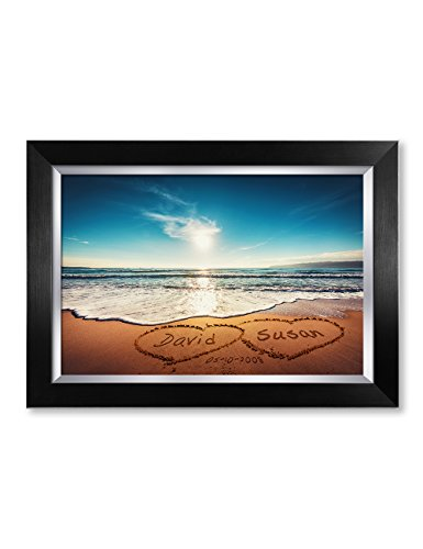 Ipic    Heart In Heart   Personalized Artwork With Names And Date On  Perfect Love Gift For Anniversary Wedding Birthday And Holidays  Picture Size  18X12   Framed Size  21X15x1 25