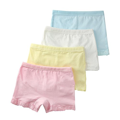 Jojobaby Baby Kids Girls' Cotton Lace Underwear Briefs 4-Pack Panties 4-6t M