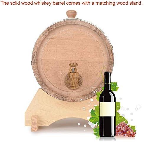 Oak Barrel, 5L/10L Vintage Wood Oak Timber Wine Barrel for Storage or Aging Wine & Spirits