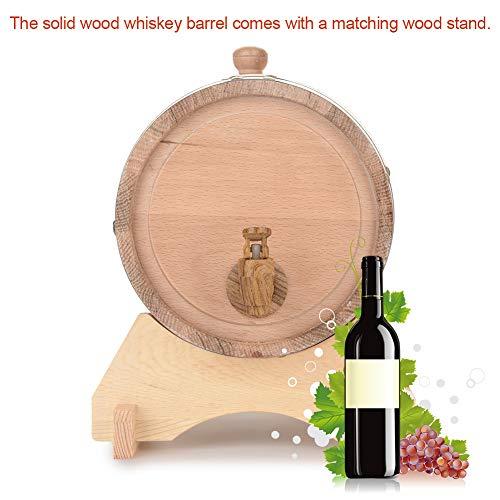Oak Barrel, 5L Vintage Wood Oak Timber Wine Barrel Dispenser for Whiskey Aging Barrel Bourbon Tequila Brewing Port Kegs (5L) by Yosooo (Image #2)