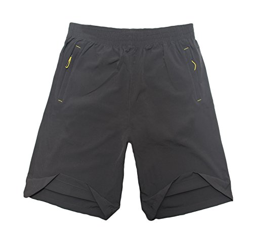 Sofishie Men's Quick Dry Shorts Zipper Pockets - Gray - Large