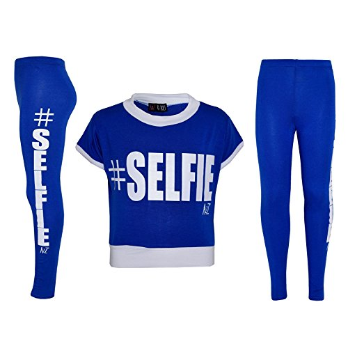 Girls Top Kids #Selfie Print Designer T Shirt & Fashion Legging Set 7-13 Years