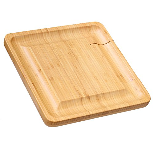 Cortesi Home CH-AX900305 Handi Natural Bamboo Cheese Serving Board Table Set with 4 Stainless Steel Knives 13.25'' Brown by Cortesi Home (Image #2)
