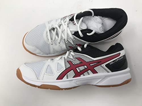 (ASICS GEL-Upcourt GS Volleyball Shoe (Little Kid/Big Kid), White/Racing Red/Black, 4 M US Big Kid)