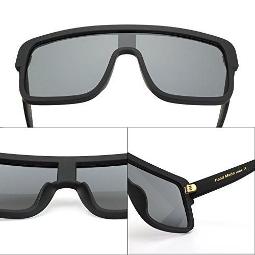 ROYAL GIRL Premium Oversized Sunglasses Women Flat Top Square Frame Shield Fashion Glasses (Matte Black, 77) by ROYAL GIRL (Image #5)