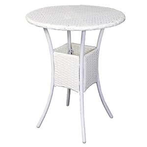 Homy - Mesa de Jardín o Terraza ROM, redonda 75x60cm, color blanco