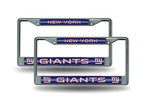 Rico New York NY Giants Chrome Metal (2) Bling License Plate Frame Set ()