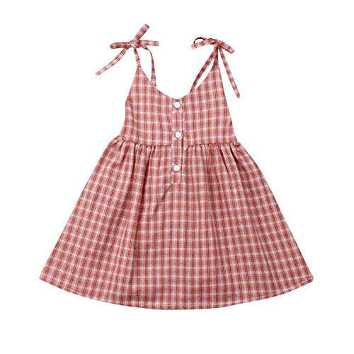 Baby Girl Summer Plaid Backless Strap Button Dress Princess Party Wedding Tutu Dresses Dress Skirts Summer Outfits Clothes