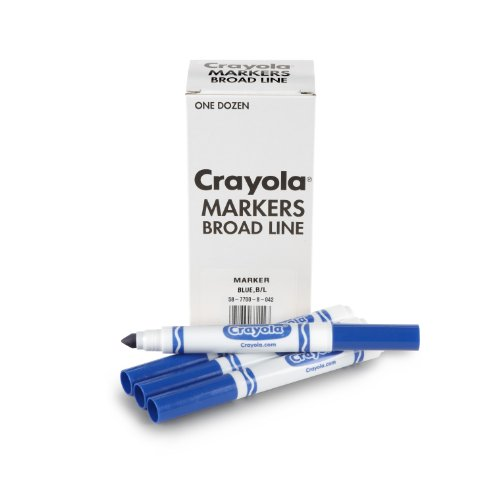 America Tip Double Marker (Crayola 12 Count Original Bulk Markers, Blue)