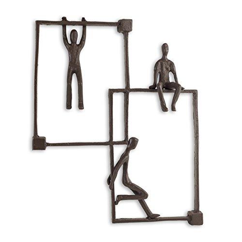Danya B ZI15216 Metal Wall Art – Three Playful Children on Frames Cast Iron Wall Hanging