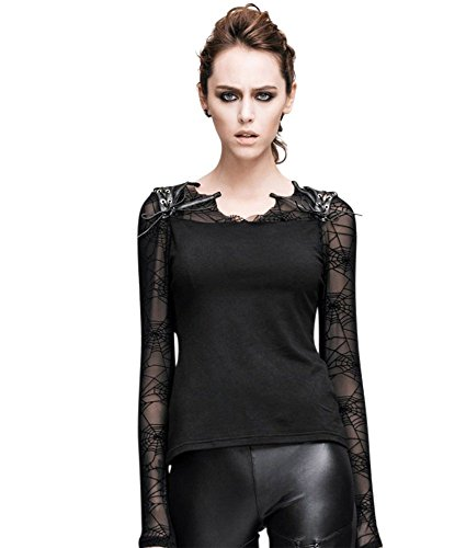 - FetiWear Gaia Blouse- Goth Spider Web Lace Long Sleeves Shirt: XS- 3XL