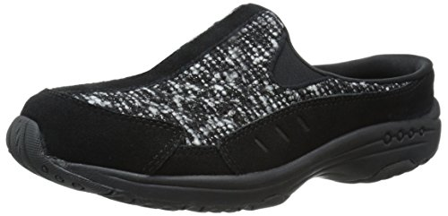 Easy Spirit Women's Traveltime Mule, Black Multi Suede, 8.5 M US (Mesh Suede Heels)