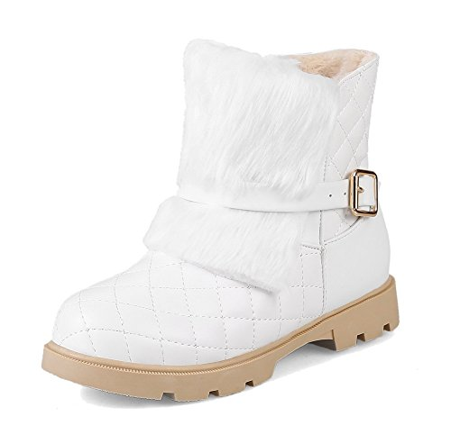 AllhqFashion Damen Flaum Niedriger Absatz Rund Zehe Gemischte Farbe Ziehen auf Stiefel Weiß