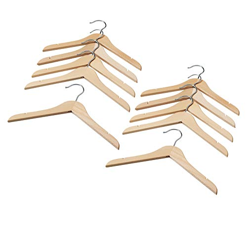 IKEA HANGA Wooden Metal Hook Top Hanger with Notches Hanger Perfect for Kids, Children and Toddlers Clothing Wardrobe 12.5 Length x 7.5 Width (Natural, 10)