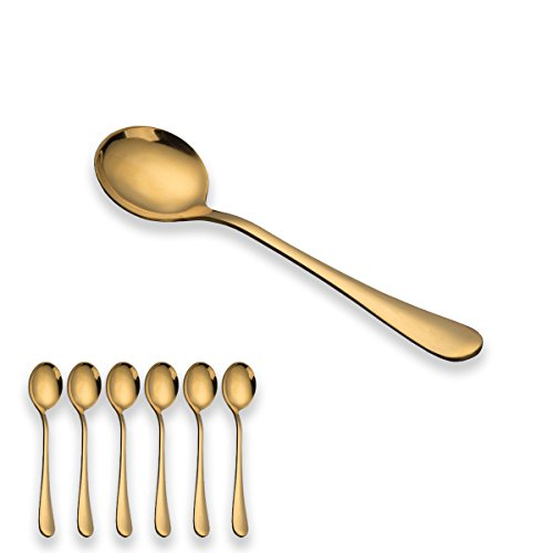 Berglander Golden Soup Spoons, Stainless Steel Round Spoons, Pack of 6