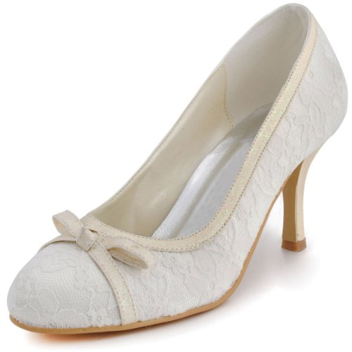 Honeystore Women's Full Lace with Bowknot Wedding Pumps Beige 8 B(M) US