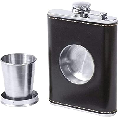 Maxam KTFLKCUP Maxam 6.8oz Stainless Steel Flask With Built-in Cup