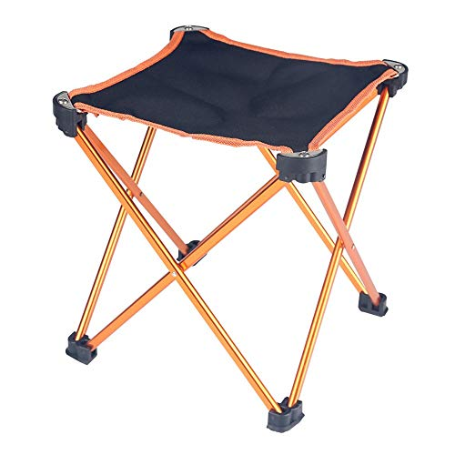 ZSLLO Camping Chairs Mini Portable Folding Chair Camping Stool Outdoor Barbecue Camping Fishing Tourism Beach Indoor Oxford Cloth Aluminum Stool (Black) Folding Chair