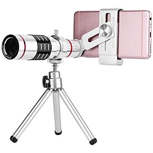 Ruiqas Telescope Lens, Cell Phone Camera Lens Kit Universal 18X Optical Zoom Telephoto Telescope Lens with Tripod