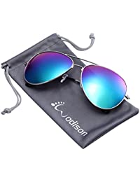 Vintage Mirrored Aviator Sunglasses for Women Men...