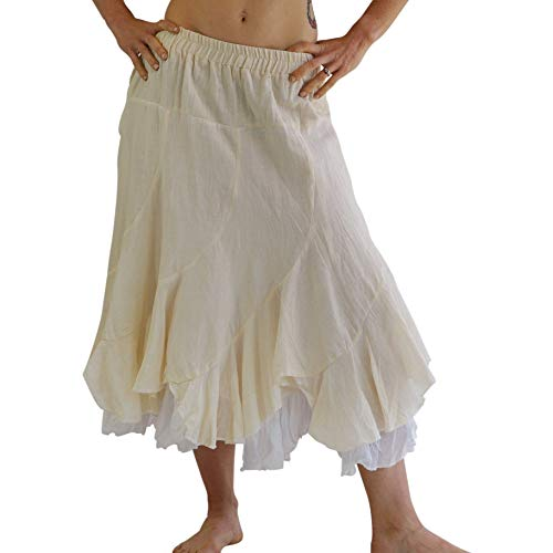 Cut Cotton Skirt Bias (zootzu 'Two Layer' Gypsy Renaissance Skirt - Cream/White)