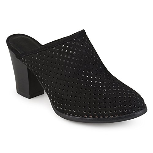 Journee Collection Womens Faux Suede Laser Cut Slide-on Mules Black, 8.5 Regular (Mule Laser Cut)