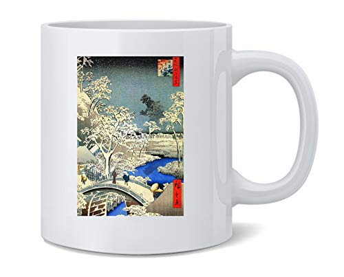 Kaiju At Meguro Drum Bridge Utagawa Hiroshige Art Coffee Mug Tea Cup 12 oz