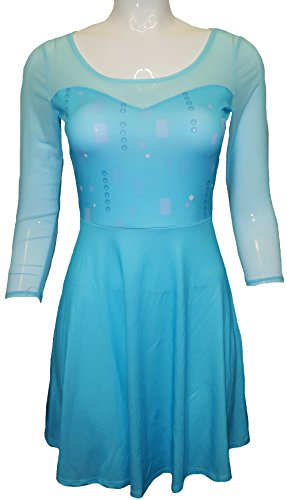 [Disney Frozen Womens Elsa Costume Skater Dress (M)] (Elsa Dress Women)
