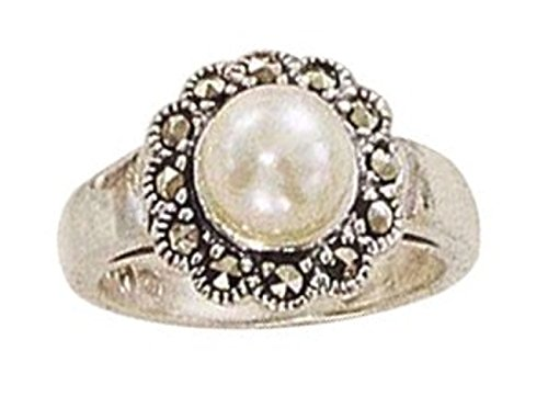 Sterling Silver Marcasite Flower Faux White Simulated Pearl Ring Size 10