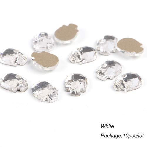 Kamas 10pcs Flat Back Rhinestones For Nail Art Decorations Skull Bone Nail Gems For Manicure Halloween Nail Designs Accessories TR876 - (Color: White) -
