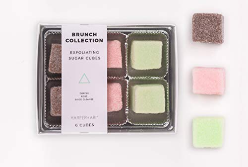 Harper + Ari Exfoliating Sugar Cubes - Brunch Collection Gift Box (Set of 6 Cubes in 3 Scents) Coffee + Juice Cleanse + Rosé