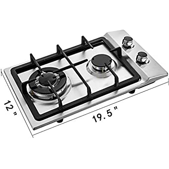 Happybuy 12×20 inches Built in Gas Cooktop 2 Burners Gas Stove Cooktop Stainless Steel Cooktop Gas Hob With Liquid Propane Conversion Kit Thermocouple Protection and Easy to Clean