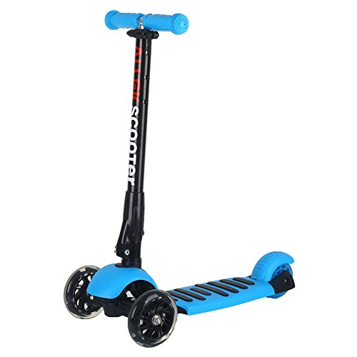 Scooter, Allek 3 Wheel Adjustable Height PU Flashing Wheels Kick Scooter for Kids with Patented Folding System Best Gifts for Children from 3 to 17 Year-Old