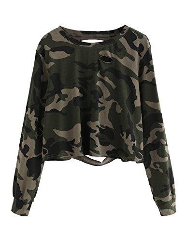 SweatyRocks Women's Tshirt Camo Print Distressed Crop T-shirt Long Sleeve Tops Camo #1 L (Teens Girls Camo)