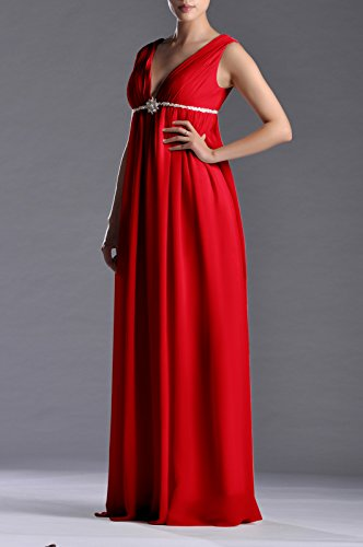 Women's A Length Chiffon Line Red Dress Full Adorona R7aZww