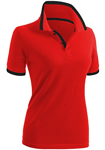 CLOVERY Women's School Uniform Short Sleeve Basic Polo Shirts RED US L/Tag...