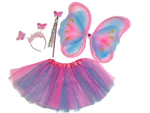 KWC - 4 pcs Rainbow Butterfly Set - Wings, Tutu, Antennas (Headband) & Wand