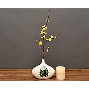 Skyseen 3Pcs Artificial Plum Blossom Branches Flowers Stems Silk Fake Wintersweet Arrangements for Home Wedding Decoration(Yellow) 1